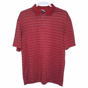 NIKE RED SHIRT GOLF POLO STRIPE DRI FIT COLLARED MENS SIZE LARGE